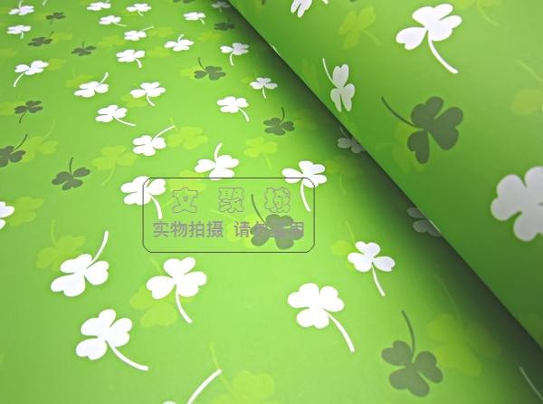 包装纸 清新绿底白色三叶草书皮封面纸DIY墙纸盒包装纸74 52 4553
