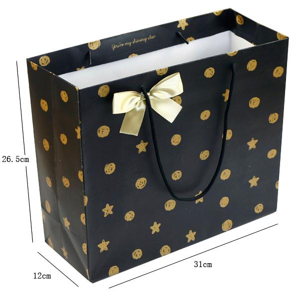 韩式精美 礼品袋 黑底金色星星 服饰包装袋