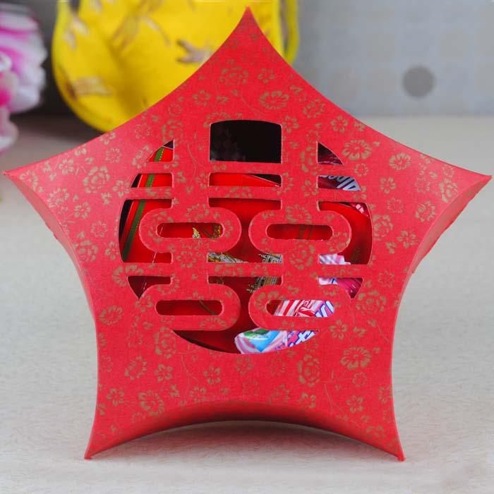 设计欣赏 包装盒设计 镂空喜糖盒欧式 喜糖包装盒创意 带花纹五角星糖