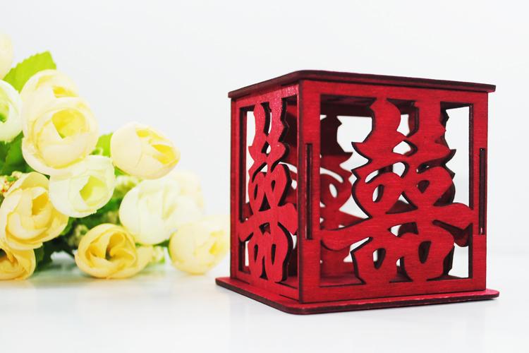 中式创意激光雕刻木质镂空喜糖盒