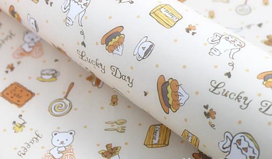 可爱卡通下午茶书皮封面纸 diy墙纸 纸盒包装纸
