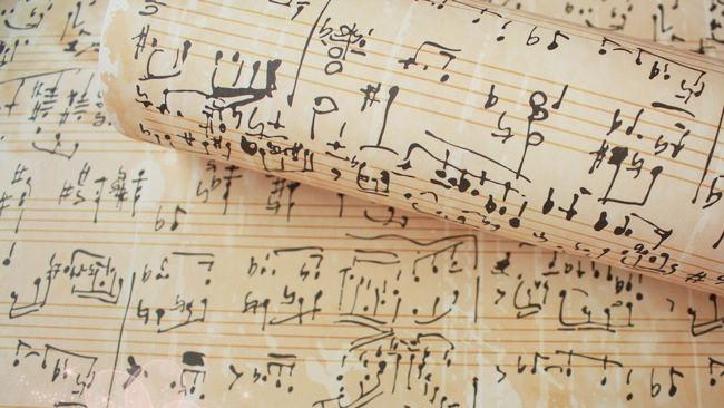 经典复古五线谱乐谱包装纸