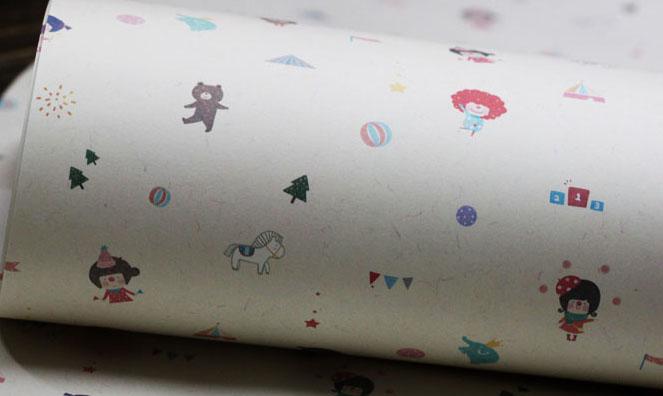 设计欣赏 包装纸 小丑姑娘马戏礼品包装纸 包书皮纸  相关热词搜索