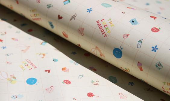 兔子小熊气球礼品包装纸
