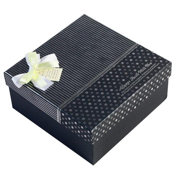 黑底银色条纹方形礼盒 - 包装盒设计,高档礼品包装盒