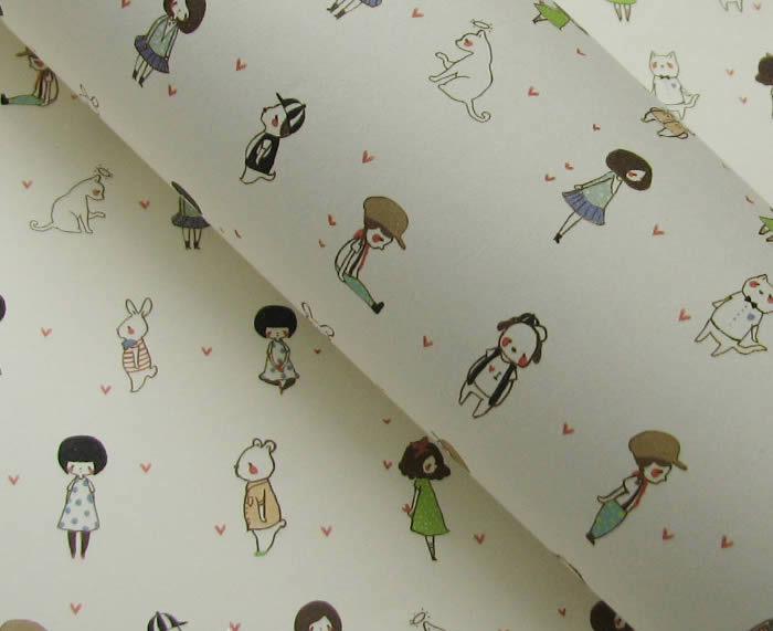 手绘插画礼品包装纸