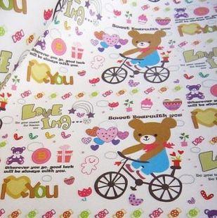 礼物包装纸小熊骑自行车