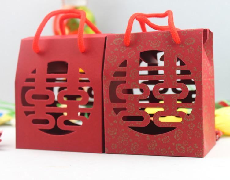 创意中国风 拎绳手提 镂空喜字喜糖袋