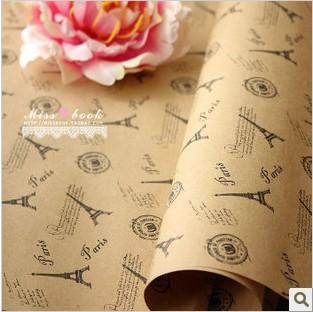 复古铁塔 牛皮包装纸 质感 包书纸 礼品礼物包装纸