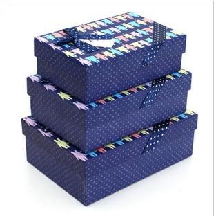 蓝色 长方形/精美纸盒礼品盒蓝色底包装盒长方形大号三件套礼物盒2012/12/...