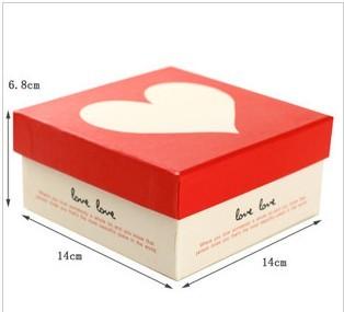 韩式精美包装盒 小号糖果盒子 婚庆礼品盒 红底白爱心