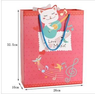 红色纸袋 精美手提袋 时尚礼品袋 可爱猫咪包装袋