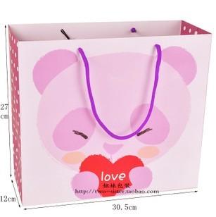 紫色小熊礼品袋 可爱卡通包装袋子