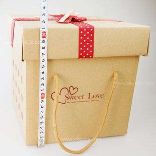 设计欣赏 包装盒设计 环保牛皮纸盒子 正方形大号超大礼品盒水果礼盒