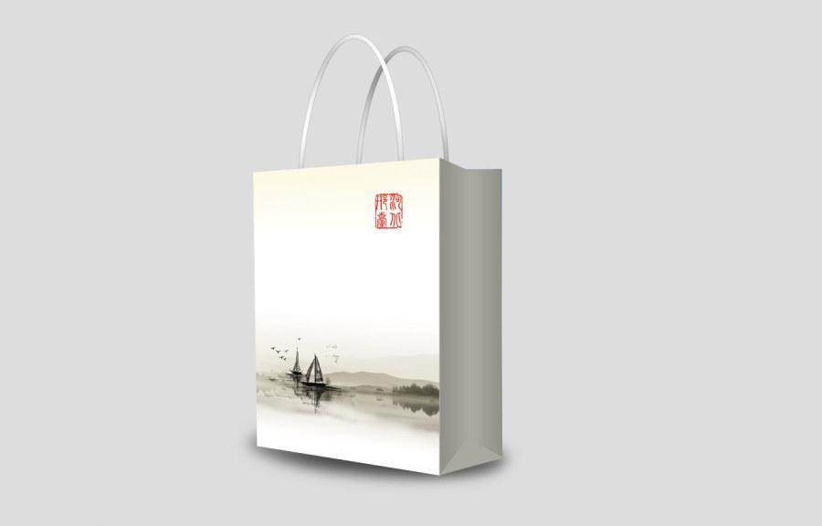 大气 典雅复古水墨风手提袋设计