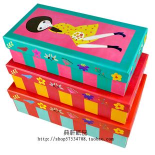 女孩插画礼盒/长方形纸盒子