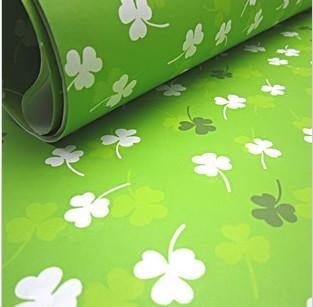 设计欣赏 包装纸 韩国包装纸 清新绿底白色三叶草书皮封面纸diy墙纸