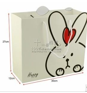 可爱米白小兔子礼品袋 包装袋 服装袋 手提袋 纸袋大号