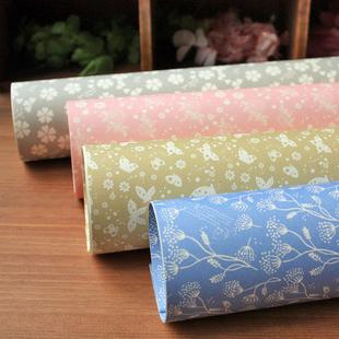 韩国包装纸 韩版礼品包书纸 包书皮 素雅清新花朵树叶