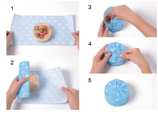 清爽的圆筒形礼物包装方法