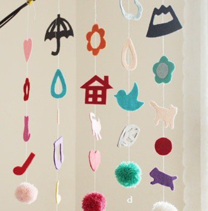 可爱的不织布挂帘 布艺风铃挂件创意