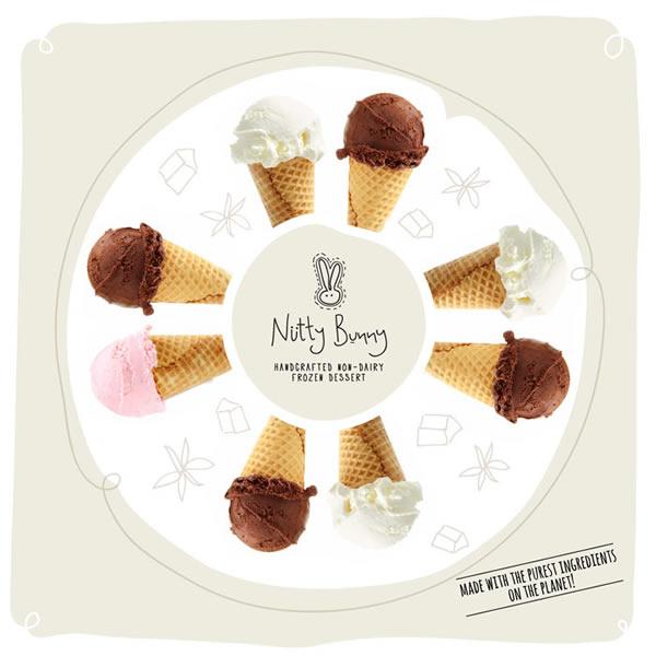 可爱兔坚果冰激凌盒包装设计