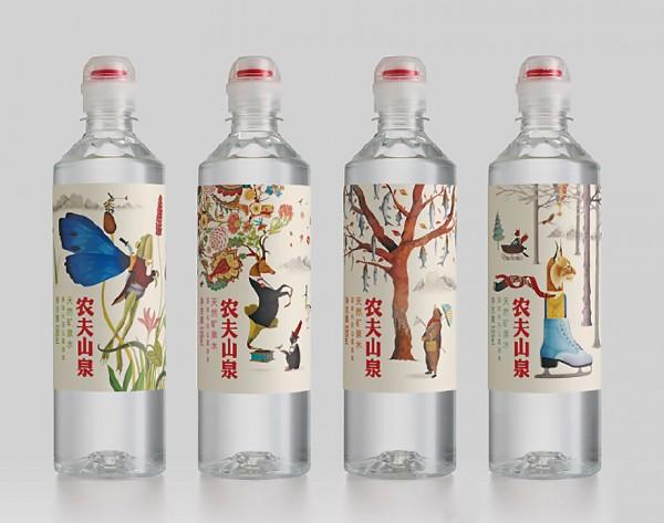 最终呈现为现在的包装:产品的八种图案设计,表达了农夫山泉对长白山和